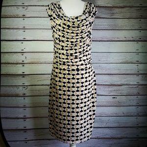White House Black Market Cowl Dress Black/Beige 8